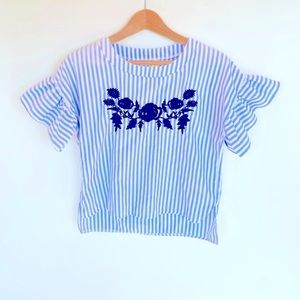 Shein cropped pinstriped top